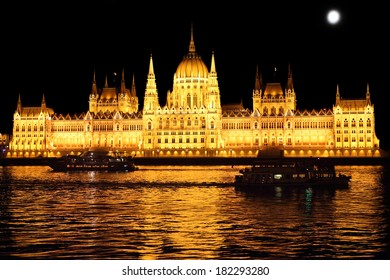Parliament building at night, Budapest Hungary