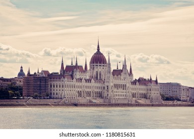 Parliament Building on Danube River Budapest Hungary