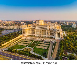 Parliament building or People's House in Bucharest city. Aerial view at sunset