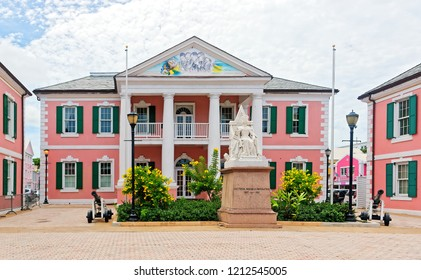 The Parliament Building (Senate) with a young Queen Victoria Statue in Nassau, Bahamas