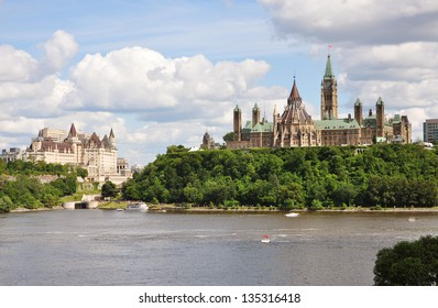 Parliament Buildings and Fairmont Chateau Laurier Hotel in Ottawa, Ontario, Canada