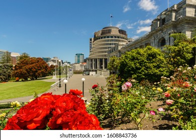 Parliament buildings located in Wellington, New Zealand. The Executive Wing is a distinctive shape and is commonly referred to as The Beehive