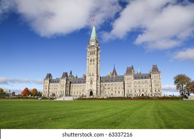 The Parliament of Canada with green grass the foreground