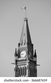 Parliament Hill building in black and white in Ottawa, Canada