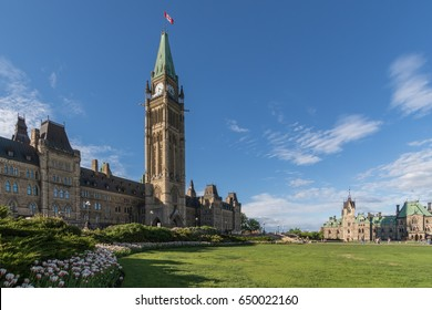 Parliament Hill of Ottawa, Canada in a sunny spring afternoon with red-and-white tulips in the foreground