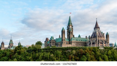 Parliament Hill - Ottawa, Ontario, Canada. Its Gothic revival suite of buildings is the home of the Parliament of Canada.