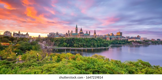 Parliament Hill in Ottawa, Ontario, Canada at Sunset