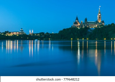 Parliament Hill and Ottawa River. Ottawa, Ontario, Canada.