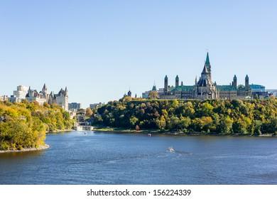 Parliament Hill in summer under the blue sky, Ottawa, Ontario, Canada