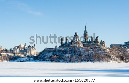 Parliament Hill in winter under the blue sky, Ottawa, Ontario, Canada