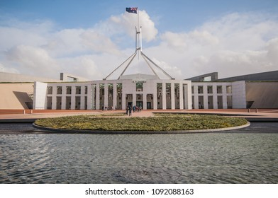 Parliament House- April 14, the outstanding architecture as landmark of Australia's capital city on April 14, 2018 in Canberra, ACT, Australia