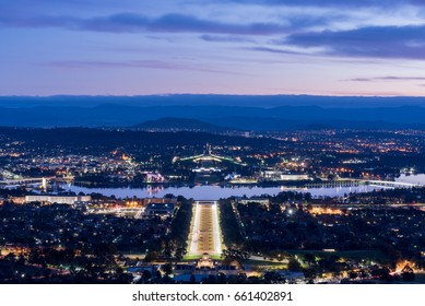 Parliament house Australia by night, one of the most attraction for visitors and tourists over the world. View from Mount Ainslie.