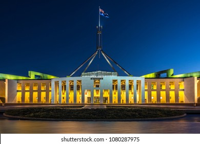 Parliament House illuminated at night, Canberra, Australia