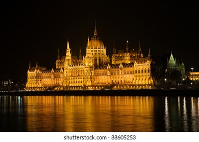 parliament house at night, budapest, hungary
