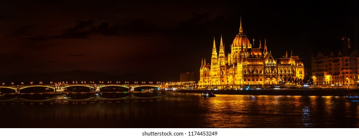 Parliament and Margaret bridge in Budapest at night, Hungary