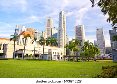 Parliament of Singapore and modern skyscrapers in background