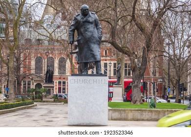 PARLIAMENT SQUARE, LONDON, ENGLAND- 17 February 2021: Winston Churchill statue in Parliament Square