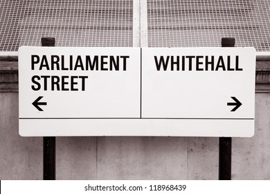 Parliament Street and Whitehall Street Sign, London, UK