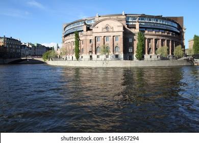 Parliament of Sweden - governmental building at Helgeandsholmen island in Stockholm.