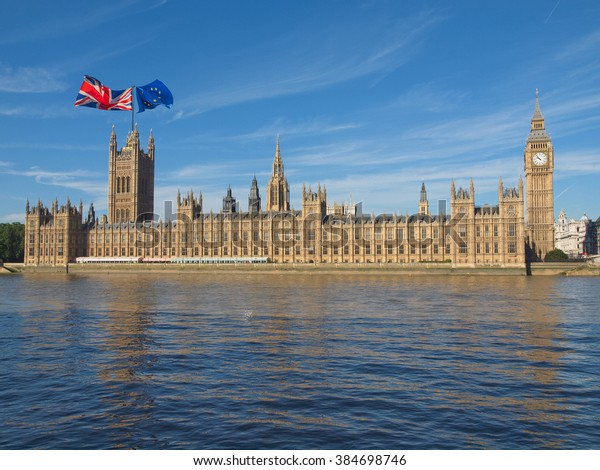 Parliament with two flags: June 23 referendum, Should the United Kingdom remain a member of the European Union or leave the European Union. The poll is aka Brexit meaning Britain exit