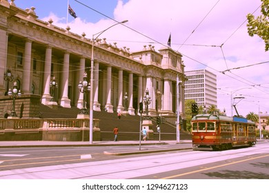 Parliament of Victoria state building in Melbourne, Australia. Famous historical streetcar - tourism attraction.