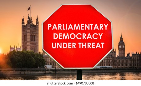 Parliamentary Democracy Under Threat digital composite with Houses of Parliament, London in background. Government set to prorogue parliament in September with UK set to leave the EU on Oct 31st, 2019