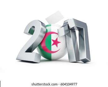 Parliamentary elections in Algeria on a white background 3D illustration