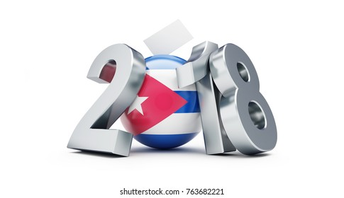 Parliamentary elections in Cuba 2018 on a white background 3D illustration, 3D rendering