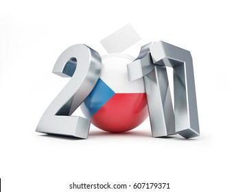 Parliamentary elections in the Czech Republic on a white background 3D illustration