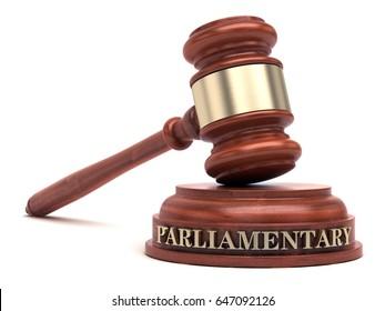 Parliamentary law text on sound block & gavel. 3d illustration