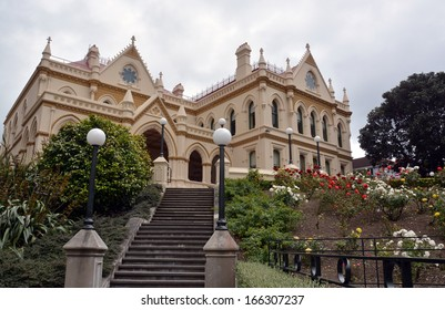 The Parliamentary Library Building built in 1898 and standing beside Parliament Building and the Beehive in Wellington, New Zealand.