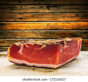 parma ham on a wooden board