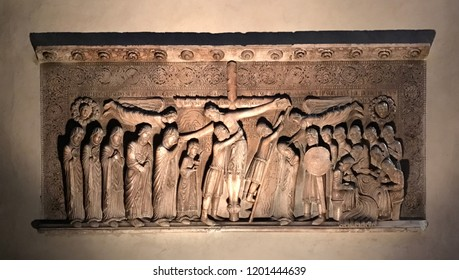 Parma / Italy - 08/10/2018 : The Deposition from the Cross is a marble sculpture by Benedetto Antelami, datable to 1178 and preserved in the right transept of the cathedral of Parma