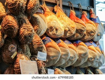 PARMA, ITALY, 15 APRIL 2017: Parma hams sold in shops. Parma ham (Prosciutto) is the most popular product from the region.