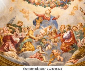 PARMA, ITALY - APRIL 15, 2018: The fresco of Assumption of Virgin Mari in side cupola of church  Chiesa di Santa Cristina by Filippo Maria Galletti (1636 - 1714)