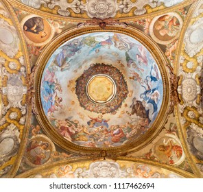 PARMA, ITALY - APRIL 15, 2018: The fresco of Assmption of Virgin Mary in side cupola of church  Chiesa di Santa Cristina by Filippo Maria Galletti (1636-1714).
