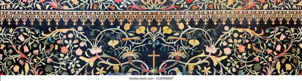 PARMA, ITALY - APRIL 15, 2018: The stone floral mosaic (Pietra Dura) with the cross on the side altar in church  Chiesa di Santa Cristina.
