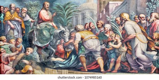PARMA, ITALY - APRIL 16, 2018: The fresco of Entry of Jesus in Jerusalem (Palm Sundy) in Duomo by Lattanzio Gambara (1567 - 1573).
