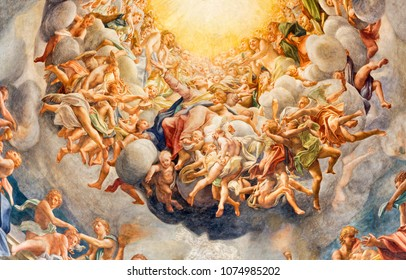 PARMA, ITALY - APRIL 16, 2018: The detail of fresco of Assumcion of Virgin Mary  in cupola of Duomo by Antonio Allegri (Correggio - 1526-1530).