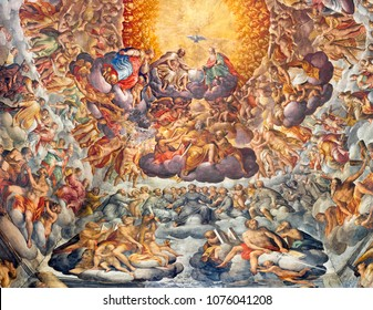 PARMA, ITALY - APRIL 16, 2018: Fresco of Holy Trinity and saints in the glory in cupola of Chiesa di Santa Maria del Quartiere by P. A. Bernabei, his brother Alessandro and G. M. Conti dela Camera.