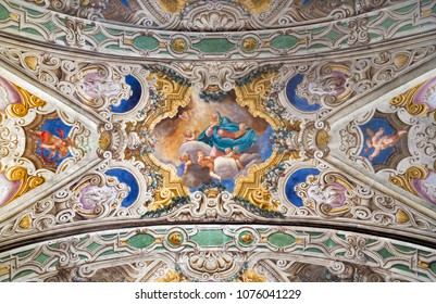 PARMA, ITALY - APRIL 16, 2018: The ceiling freso of The Asumption of Virgin Mary in church Chiesa di Santa Croce by Giovanni Maria Conti della Camera (1614 - 1670).