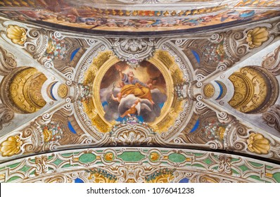 PARMA, ITALY - APRIL 16, 2018: The ceiling freso of the Glorification of St. Joseph in church Chiesa di Santa Croce by Giovanni Maria Conti della Camera (1614 - 1670).