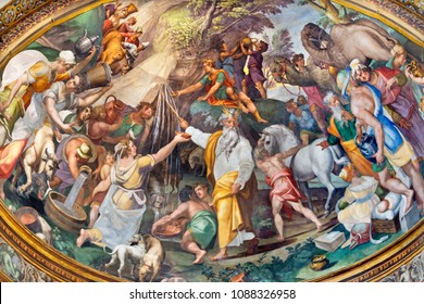 PARMA, ITALY - APRIL 16, 2018: The fresco of the scene as Moses gets water from the rock in side apse of Duomo by  Oracio Samacchini (1570 - 1574).