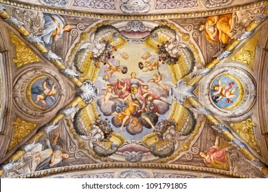 PARMA, ITALY - APRIL 16, 2018: The ceiling fresco with the Apotheosis of St. Lucy in church Chiesa di Santa Lucia by  Alessandro Baratta (1637-1714).