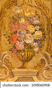 PARMA, ITALY - APRIL 16, 2018:  The painting of baroque bunch of flowers in church Chiesa di San Benetetto by Antonio Bresciani e Gaetano Ghidetti (1759).