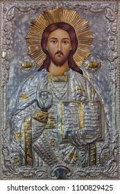 PARMA, ITALY - APRIL 16, 2018: The metalic icon of Jesus the Teacher in church Chiesa di Santa Maria del Quartiere by unknown artist.