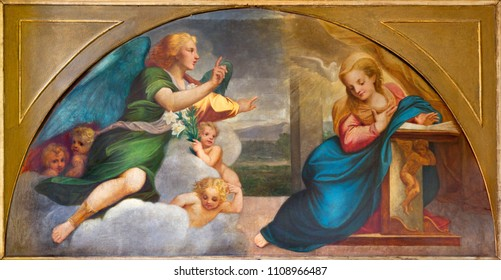 PARMA, ITALY - APRIL 16, 2018: The paintig of Annunciation in church Chiesa della Santissima Annunziata as the copy of fresco by Correggio (1520).