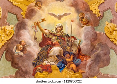 PARMA, ITALY - APRIL 16, 2018: The ceiling fresco of Triumph of Religion - Trionfo della Religione in church Chiesa di San Vitale by Giuseppe Peroni (1760 - 1763).