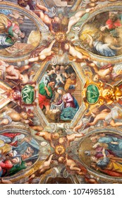 PARMA, ITALY - APRIL 17, 2018: The fresco Nativity on the cieling of church Chiesa di Santa Maria degli Angeli by Pier Antonio Bernabei (1620).