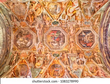PARMA, ITALY - APRIL 17, 2018: The fresco on the ceiling of church Chiesa di Santa Maria degli Angeli by Giovanni Maria Conti and Pier Antonio Bernabei (1620).